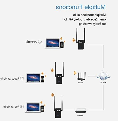 Farfi WiFi Extender WiFi Repeater with Router/AP Supported, Band 2.4GHz/5GHz 750Mbps Setup